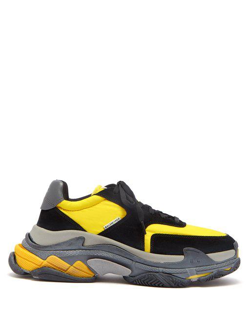 Balenciaga Men's Triple S Mesh & Leather Sneakers, Black/Yellow In Grey