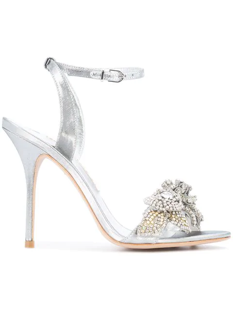 Sophia Webster Lilico Crystal Beaded LamÉ Ankle-Wrap Sandal, Silver In Metallic