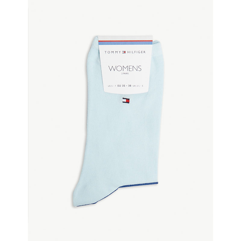 da08a7c2a Tommy Hilfiger Logo Cotton-Blend Socks Pack Of Two In 832 Blue Combo ...