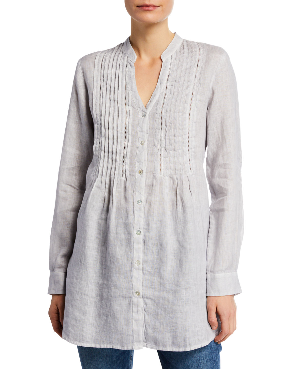 8faff7afe6e 120% Lino Band-Collar Pintucked Button-Front Long-Sleeve Linen Blouse In