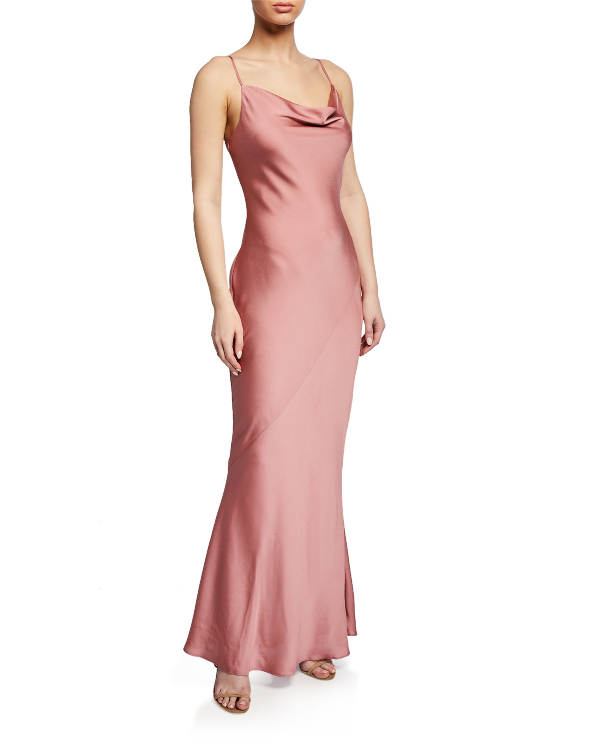 Cowl Neck Satin Wedding Dresses: Shona Joy Cowl-Neck Spaghetti-Strap Bias-Cut Satin Slip