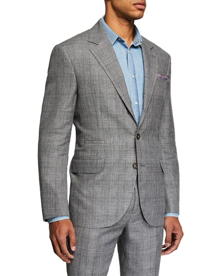 Brunello Cucinelli Men's Plaid Two-Piece Suit In Gray