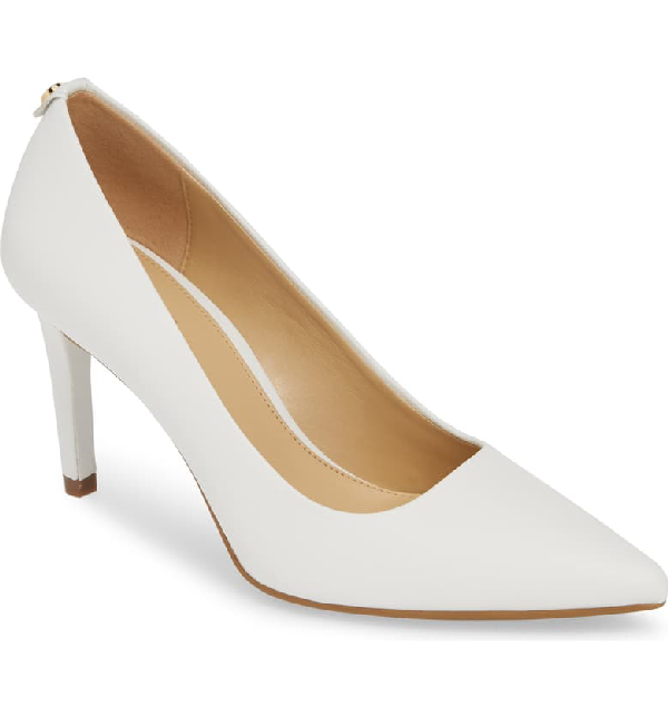 Michael Michael Kors Dorothy Flex Leather Pumps In Optic White Vachetta Leather