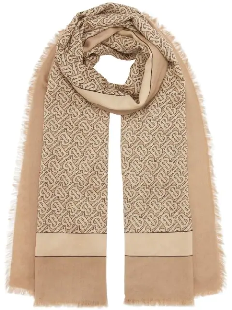 Burberry Monogram Print Lightweight Cashmere Scarf In Neutrals