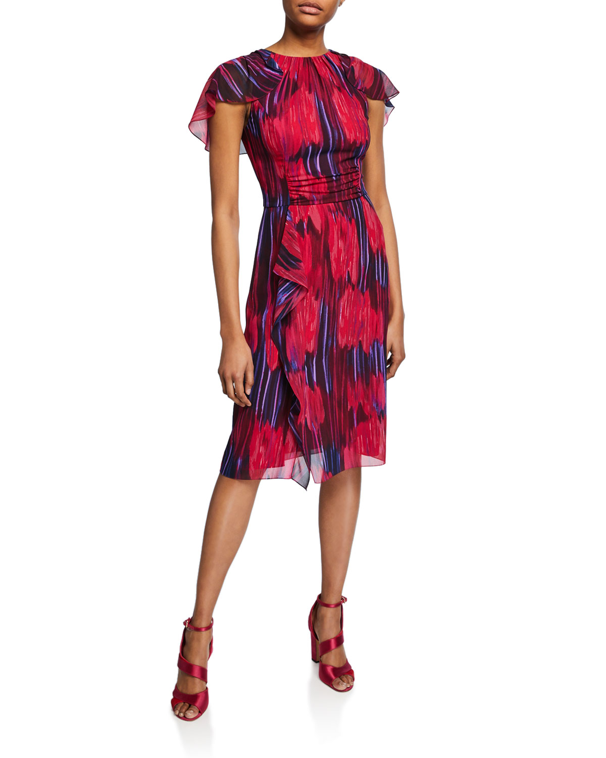 be4e7c2fc04b Halston Heritage Printed High-Neck Flutter-Sleeve Dress In Fuchsia Tulip  Floral Print