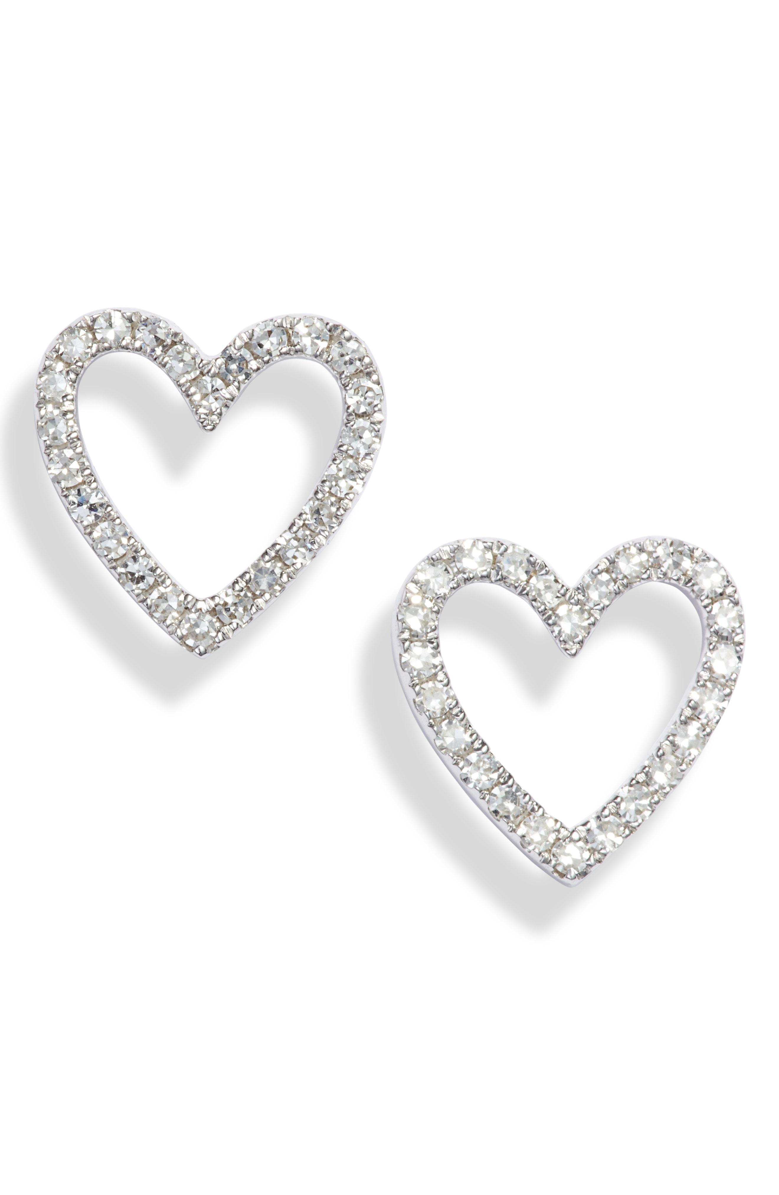Diamond Open Heart Stud Earrings In White Gold