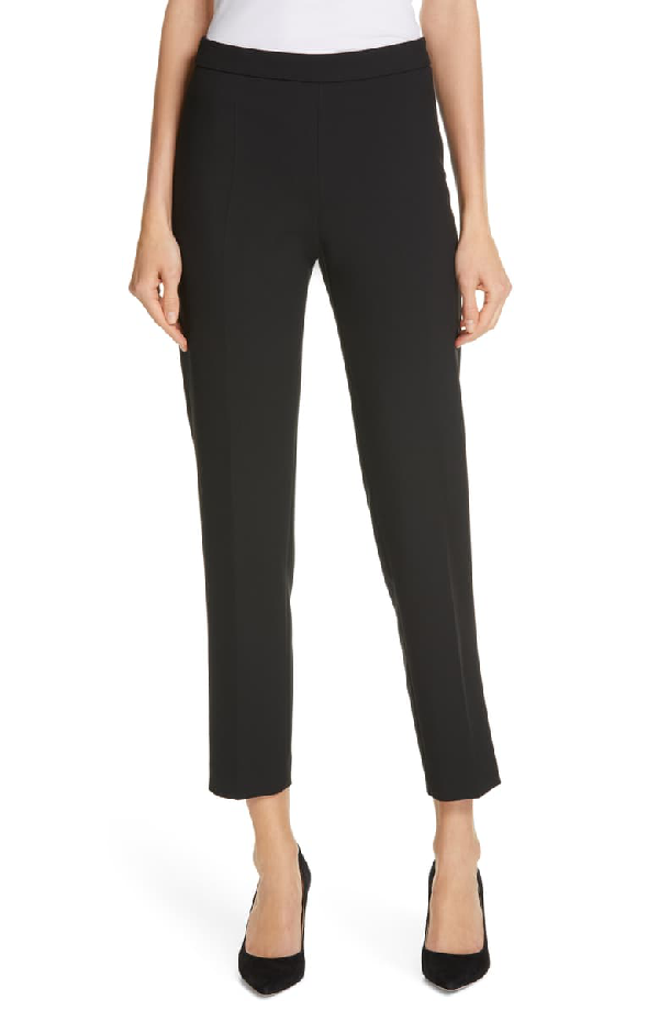 Boss Tiluna Soft Stretch Side Zip Ponte Trousers In Black