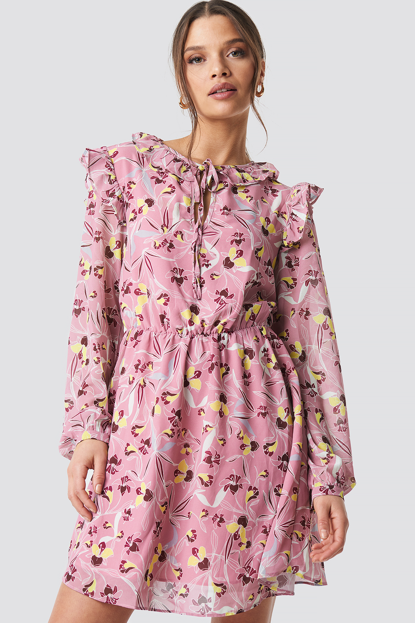 Glamorous Flower Printed Mini Dress - Multicolor In Mauve Floral
