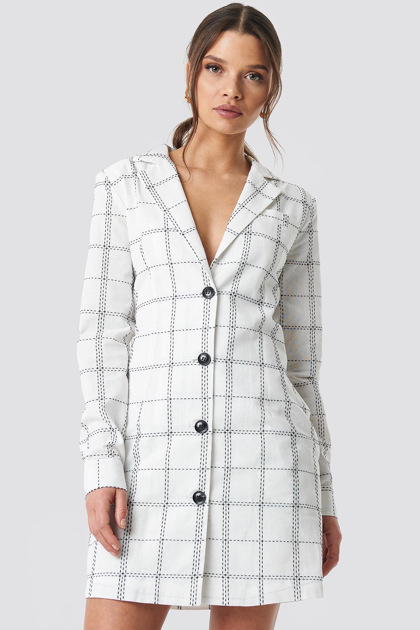 Glamorous Topstitch Check Mini Dress - White In Black Topstitch Check