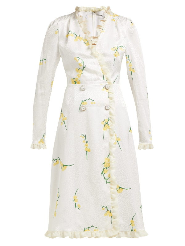 Alessandra Rich Floral-Print Silk-DevorÉ Midi Dress In White