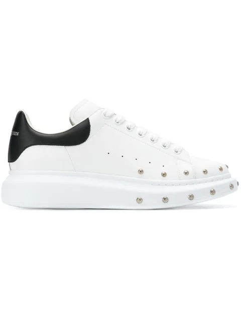Alexander Mcqueen Studded Leather Low-Top Sneaker, White/Black, White/Black