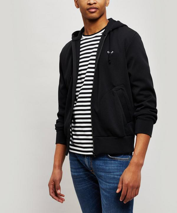 Comme Des Gars Play Zip-up Cotton Hoodie In Black