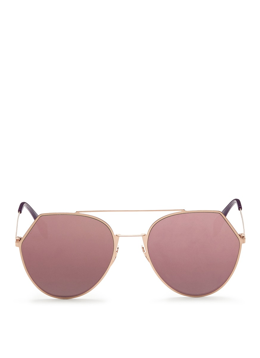 34c897afaa Fendi  Eyeline  Flat Metal Angular Aviator Mirror Sunglasses