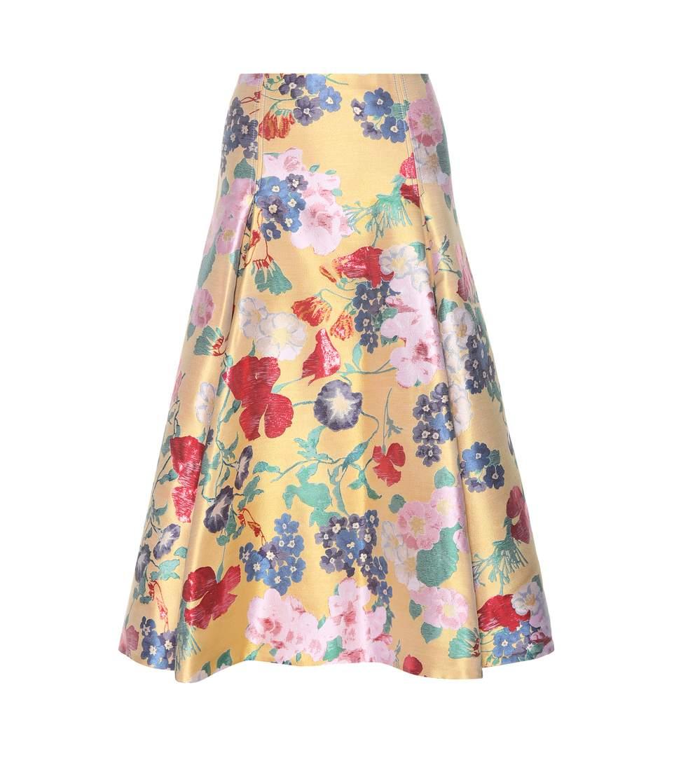 Valentino Romantic Garden Brocade A-Line Skirt, Yellow/Multi, Yellow Multi In Multicolor