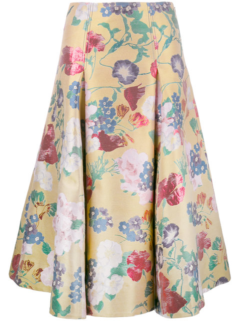 Valentino Romantic Garden Brocade A-Line Skirt, Yellow/Multi, Yellow Multi