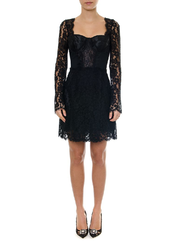 Dolce & Gabbana Black Cordonetto Lace & Satin Dress