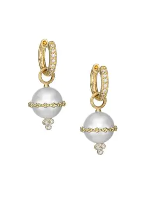 Jude Frances Provence 18K Yellow Gold Pearl & Diamond Earring Charms