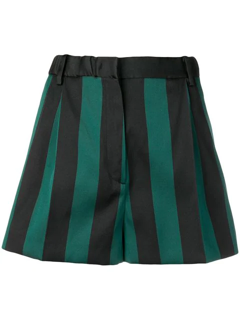 N°21 Striped Short Shorts In Green