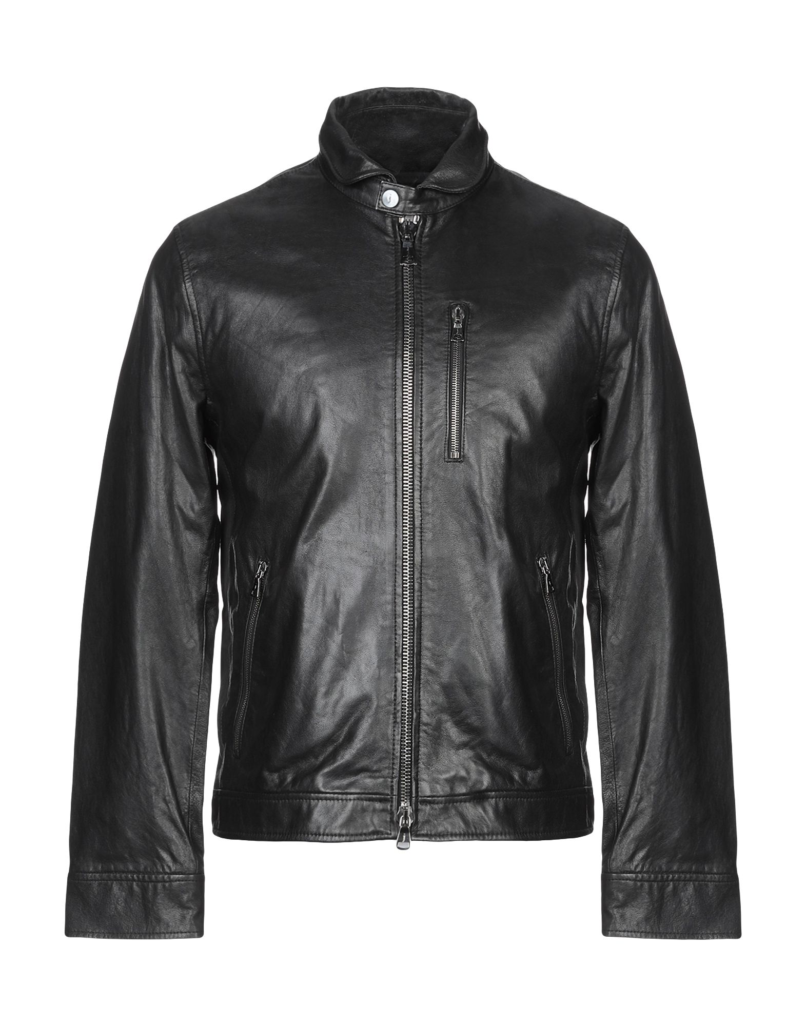John Varvatos Leather Jacket In Black