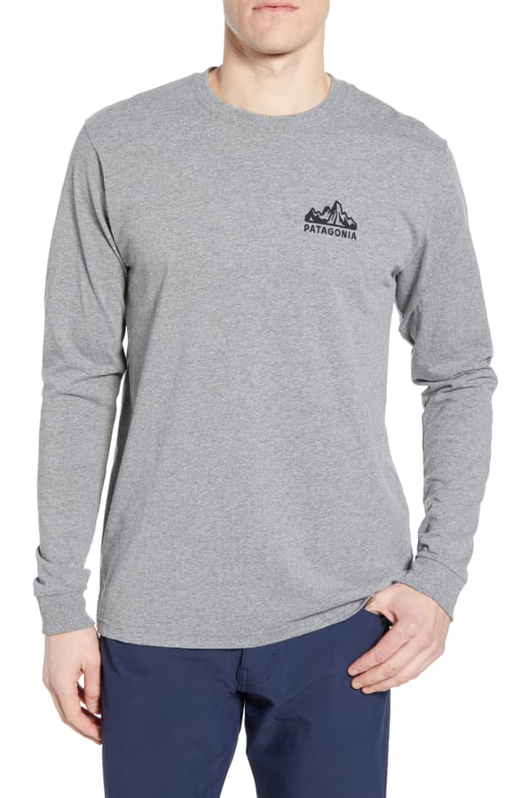 Patagonia Fitz Roy Scope Long Sleeve Responsibili-Tee T-Shirt In Gravel Heather