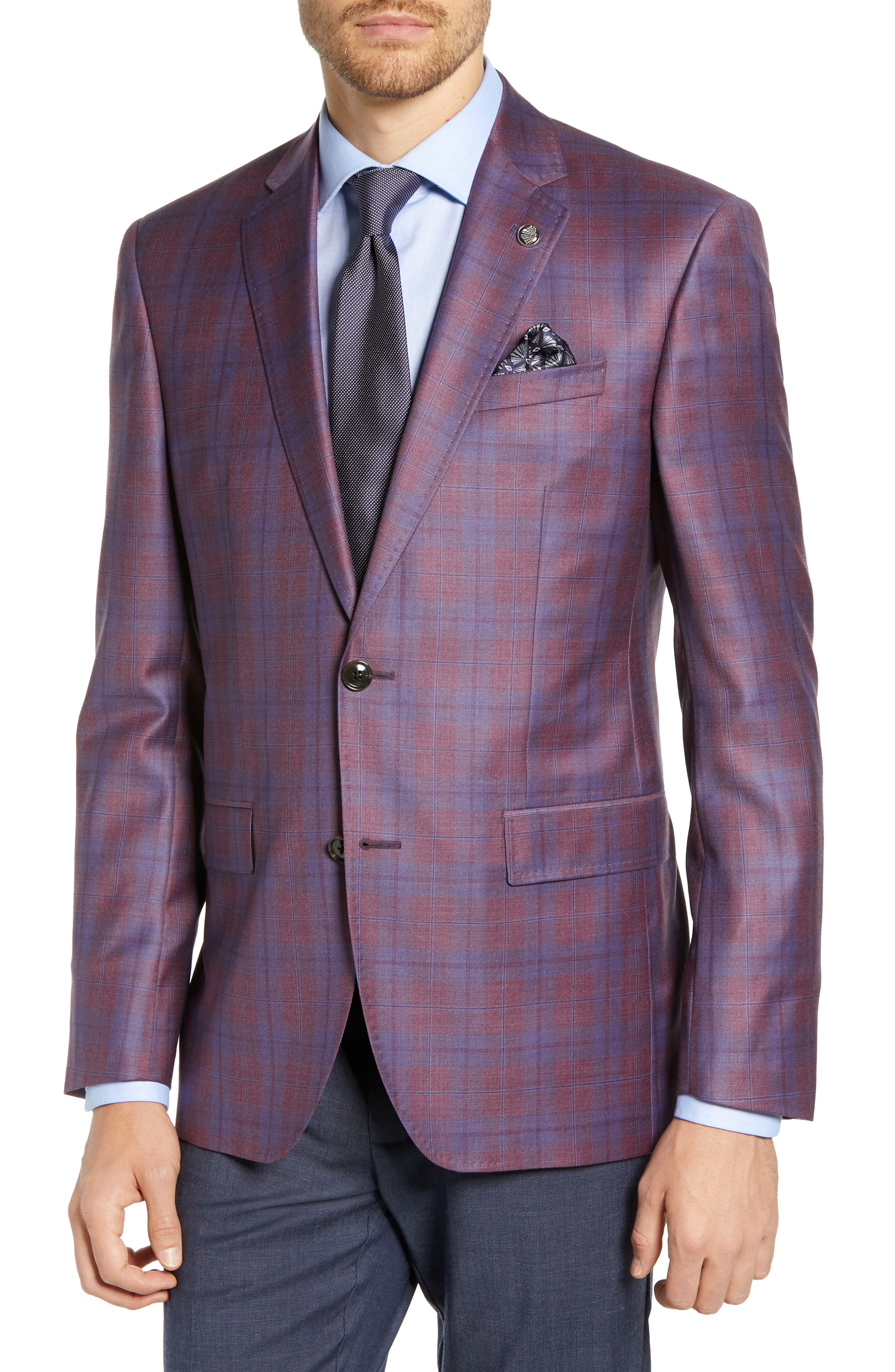 915d925cc049 Ted Baker Jay Trim Fit Plaid Wool Sport Coat In Berry | ModeSens