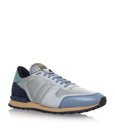 774ec60d7ca3c Valentino Men's Rockrunner Mesh Trainer Sneaker, Burgundy/Ice Blue ...