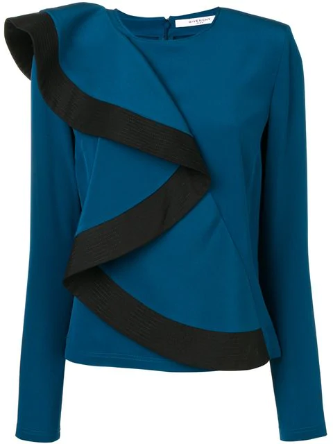 Givenchy Asymmetric Ruffle-Front Sweater In Blue