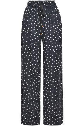 Zimmermann Woman Printed Crepe Wide-Leg Pants Charcoal