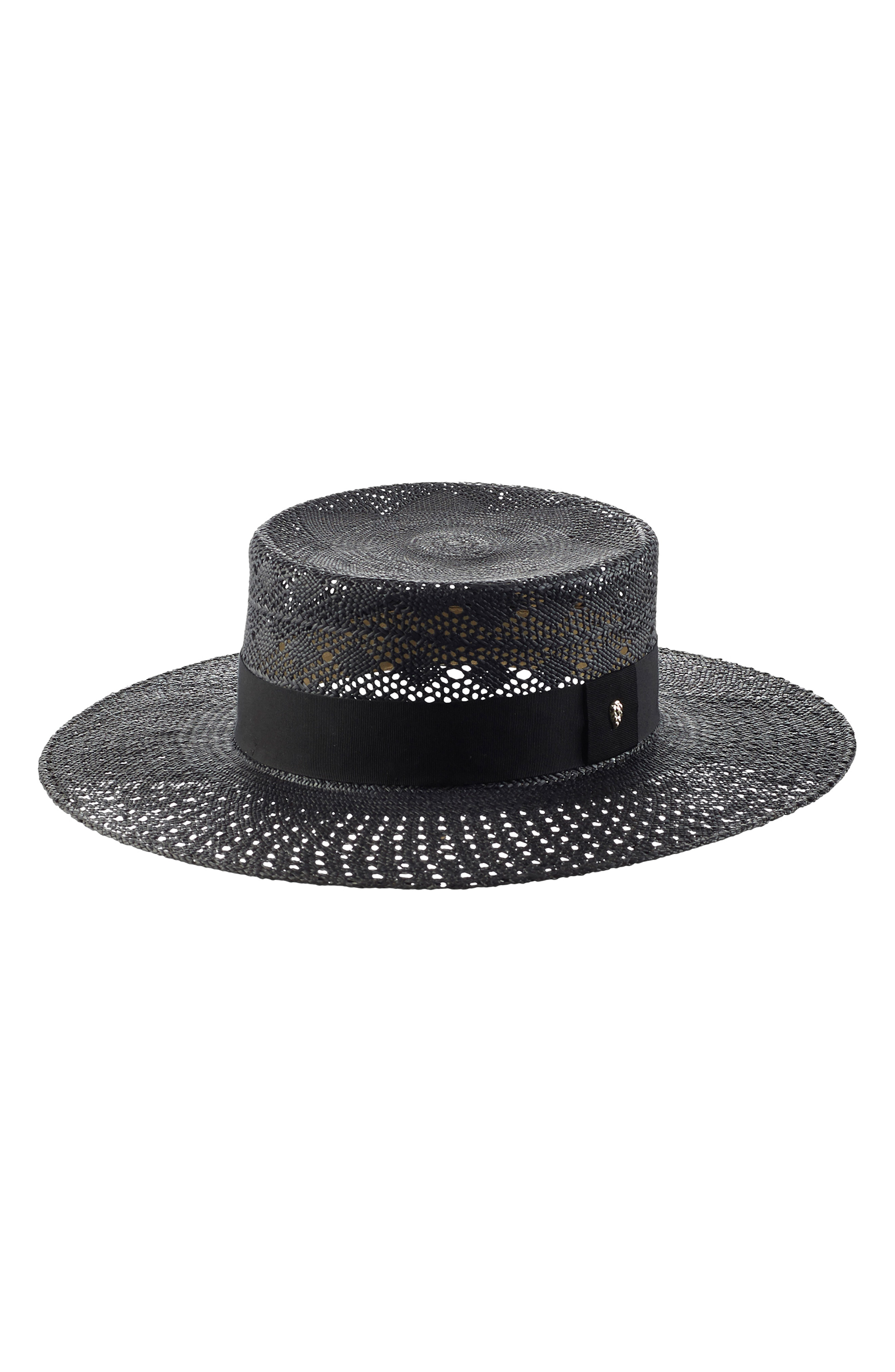 e83d13367616b Helen Kaminski Panama Boater Hat - Black In Black  Black
