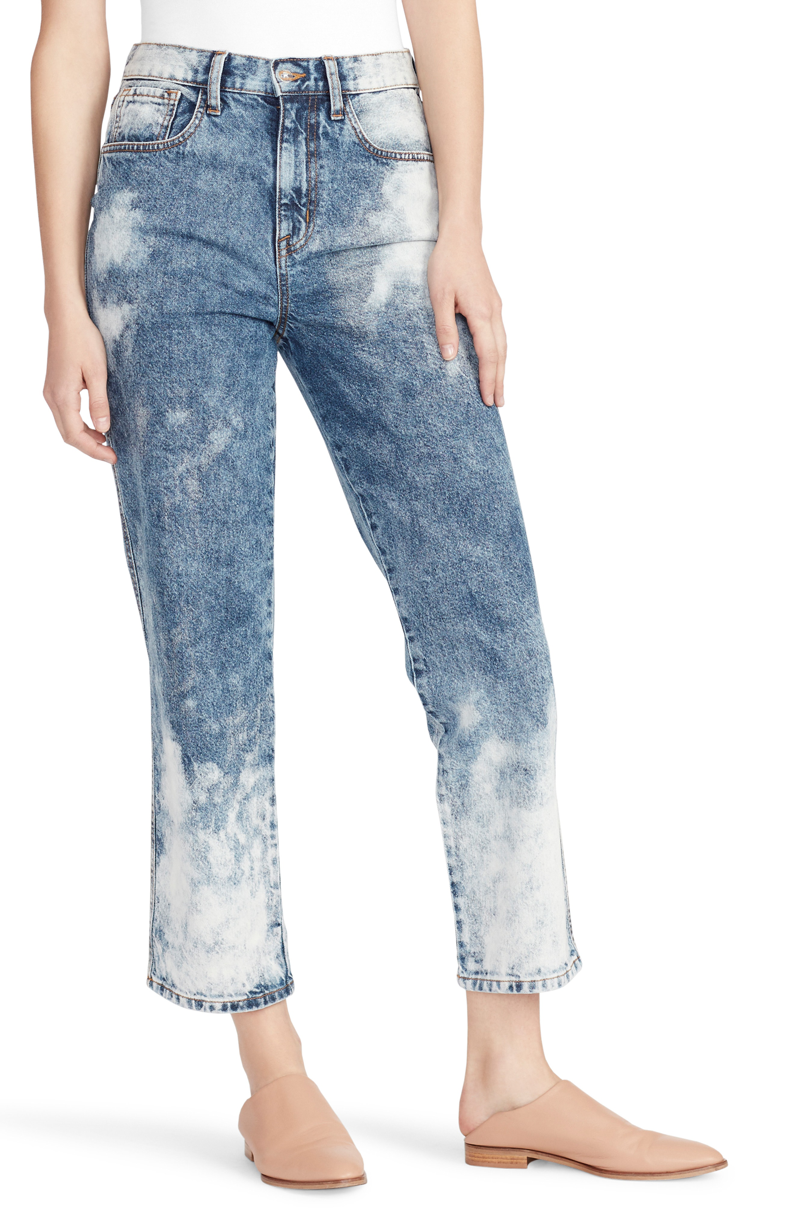 Leg Jeans Ankle Waist Straight Bleached High trQdsh