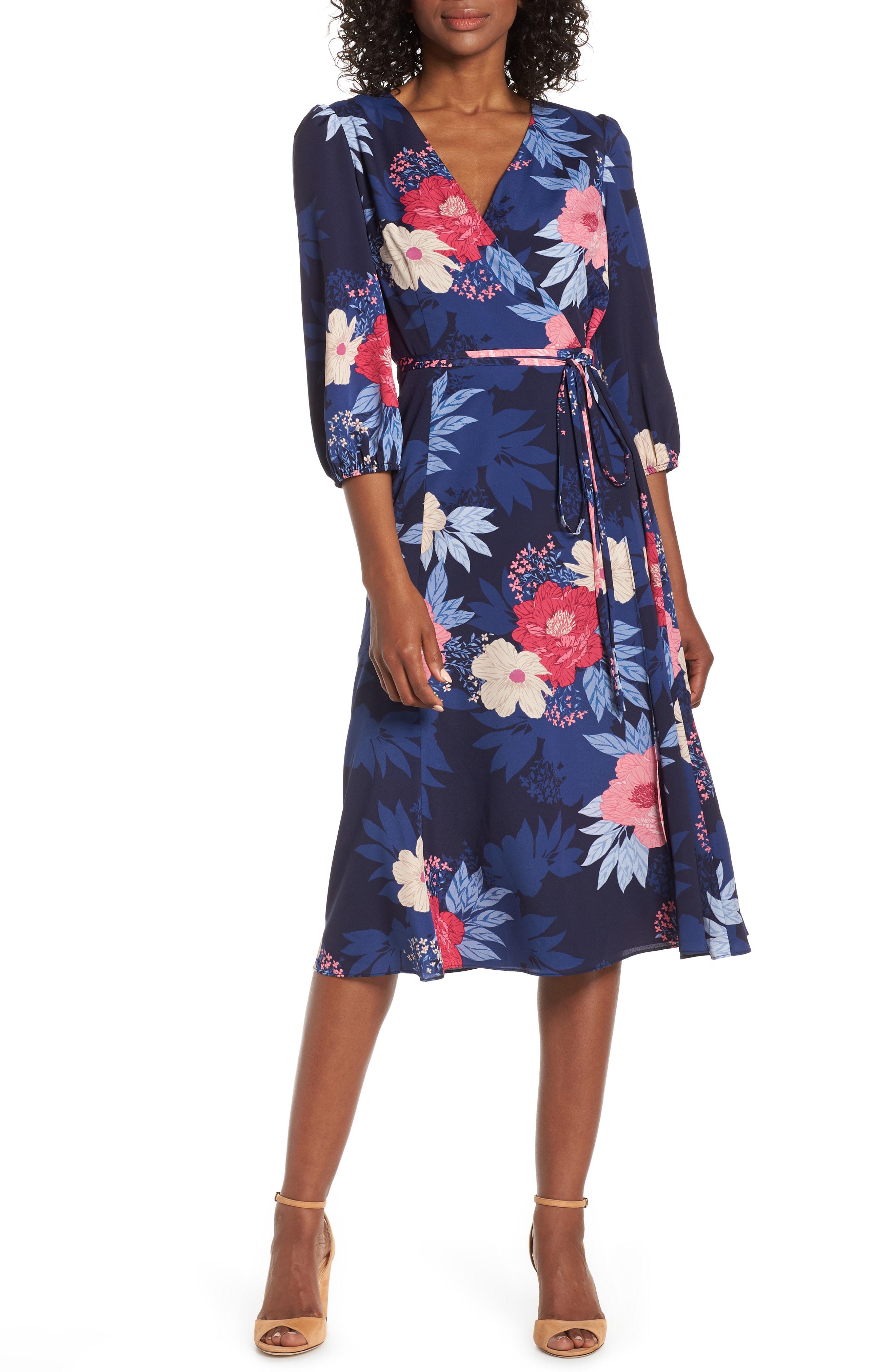 6b963d3df9b7 Eliza J Floral Print Faux Wrap Midi Dress In Navy