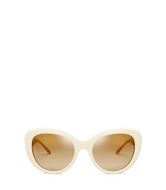 e58e0d46d292 Tory Burch Patterned Serif-T Cat-Eye Sunglasses In Ivory/Orange Circle T