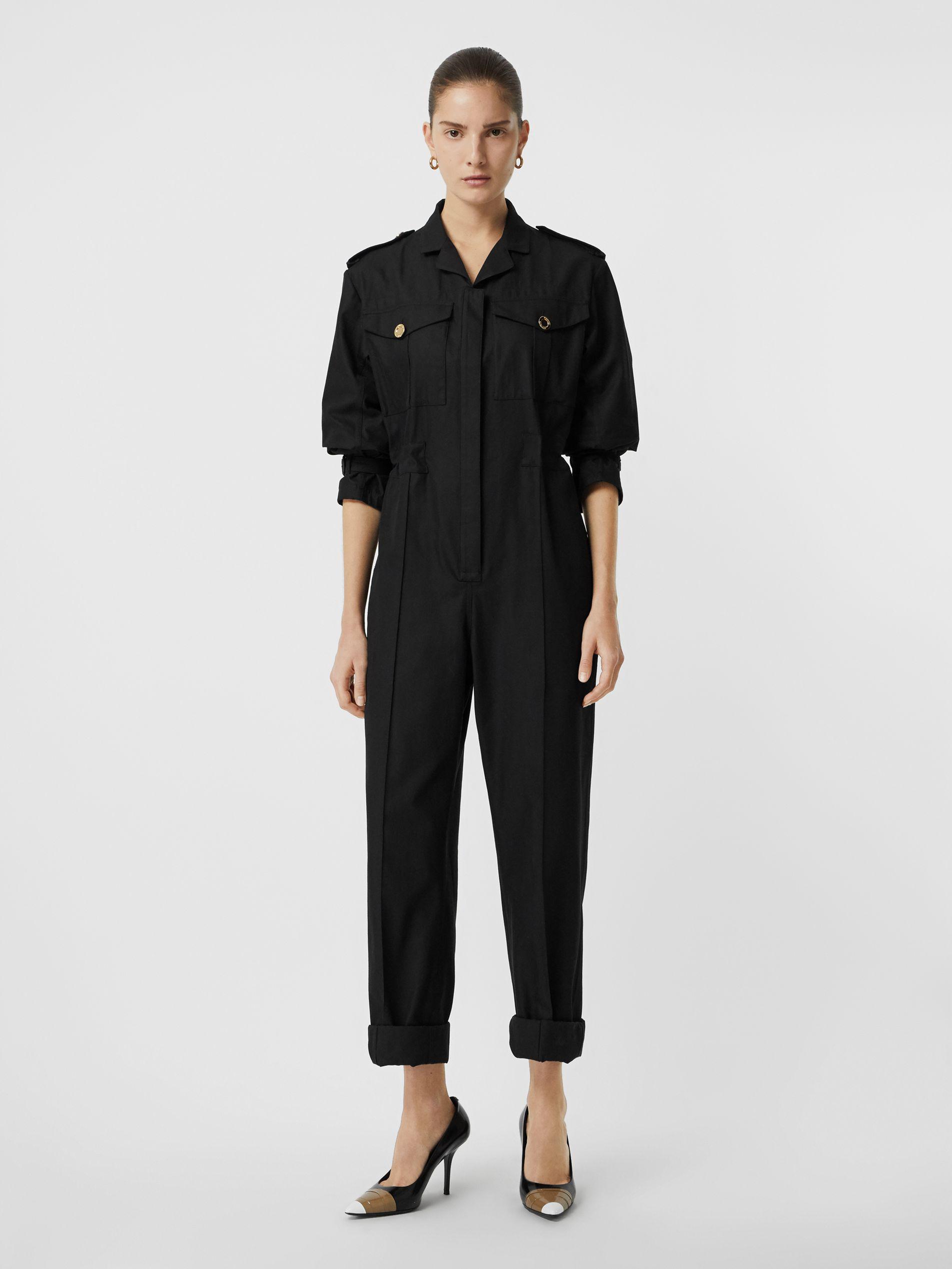 Burberry Cotton Gabardine Jumpsuit In Black