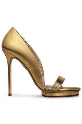 Charlotte Olympia Woman Christine Metallic Leather Platform Sandals Gold