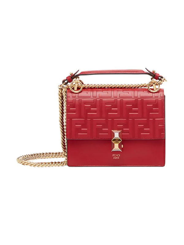 a93c1a8d8ad7 Fendi Small Kan I Logo Embossed Leather Bag In Red | ModeSens