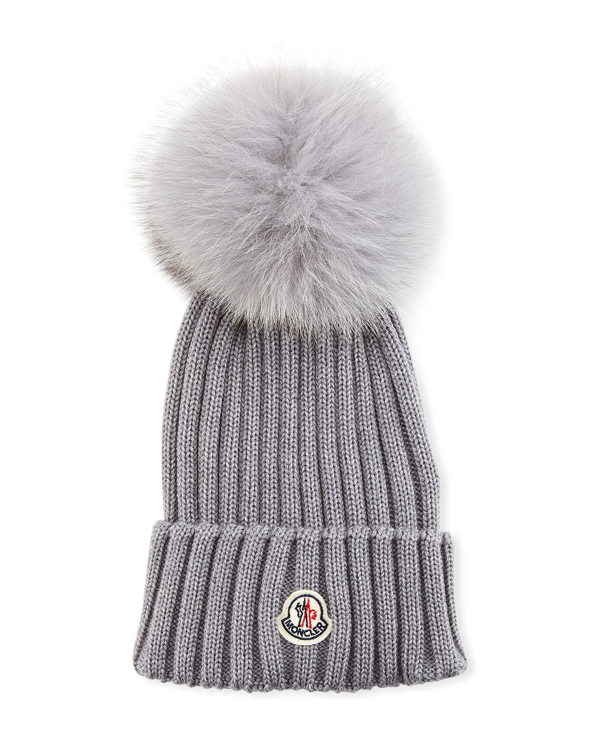 936ad67de86 Moncler Ribbed-Knit Beanie Hat W Fur Pompom In Charcoal