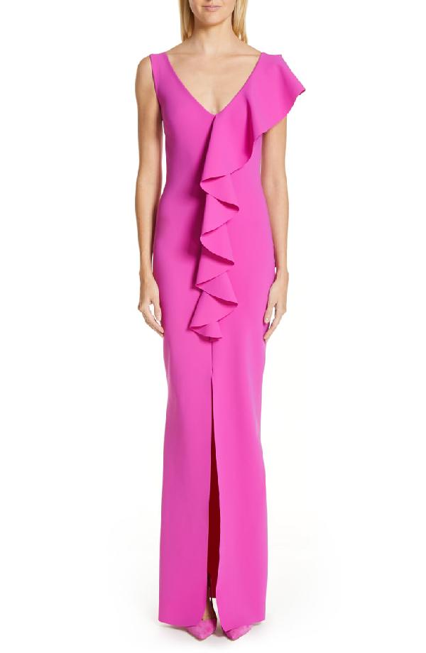 c878fc63523 Chiara Boni La Petite Robe Boudicea V-Neck Sleeveless Center Ruffle Gown W   Front