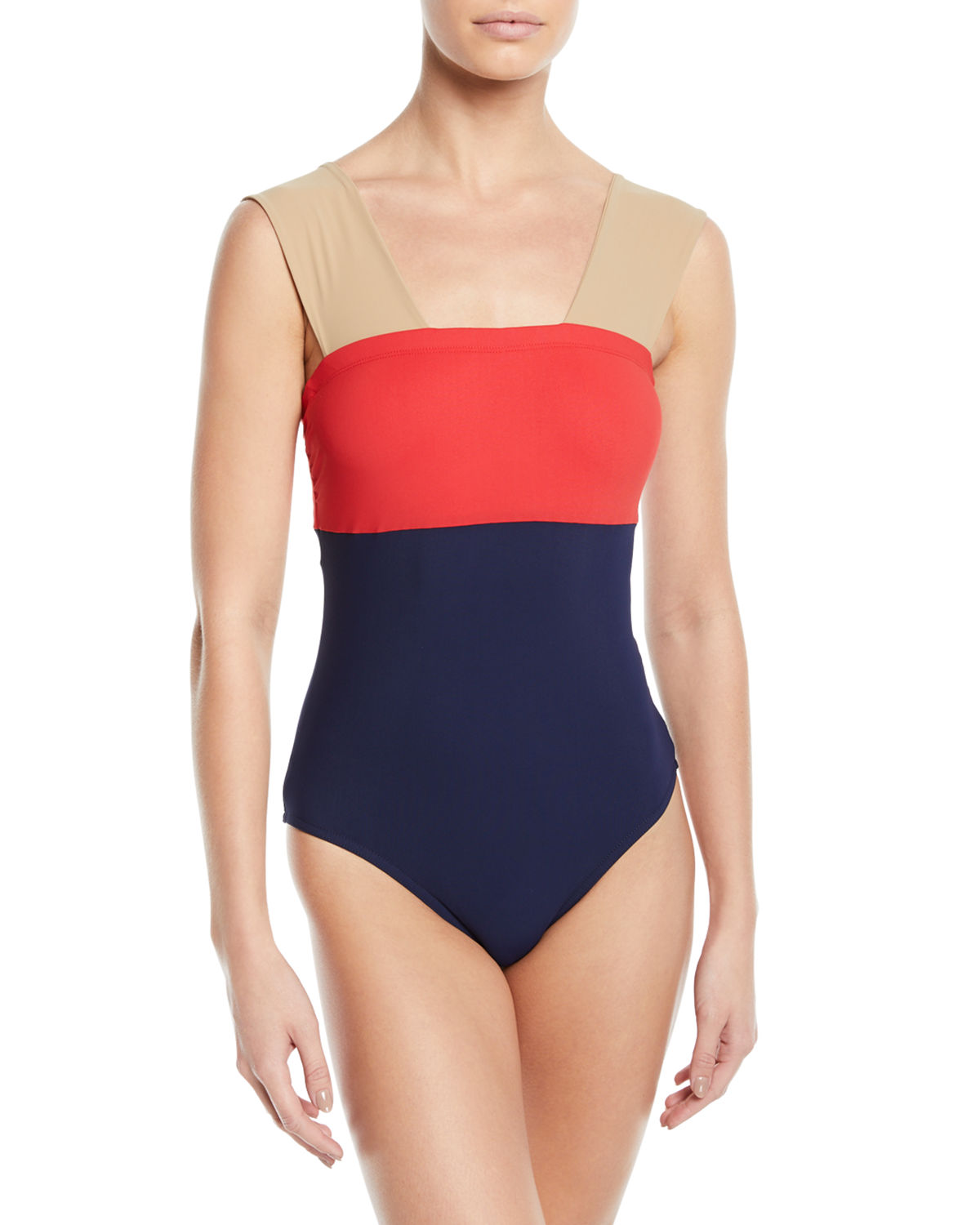 4cd48618226 Karla Colletto Marcella Colorblock One-Piece Swimsuit In Navy Cherry Khaki