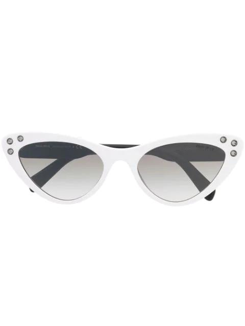 bf7a863cced7 Miu Miu Eyewear Cat Eye Sunglasses - Black | ModeSens