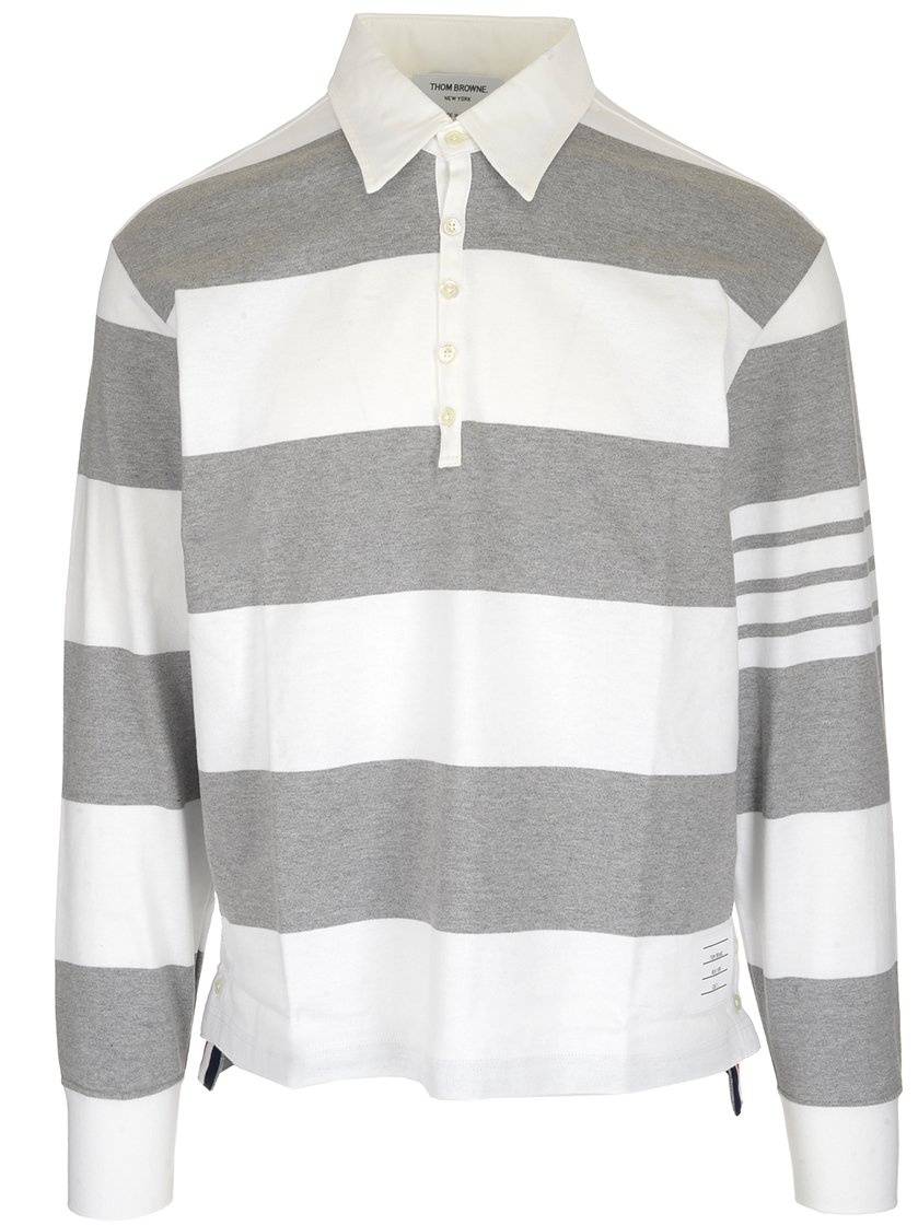98114001af Thom Browne Striped Rugby Polo In Grey | ModeSens