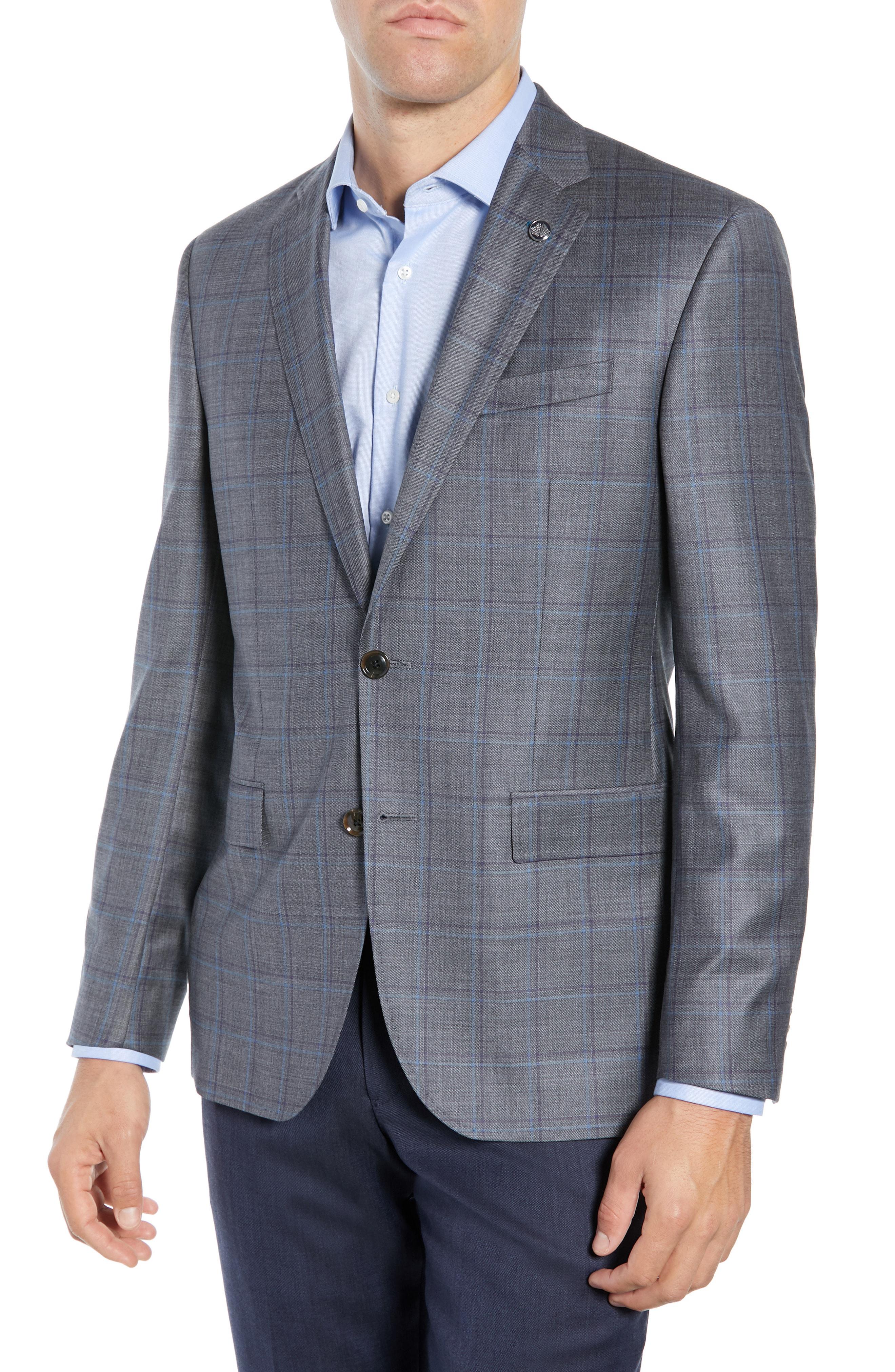 66dd6e8211f8 Ted Baker Jay Trim Fit Windowpane Wool Sport Coat In Grey