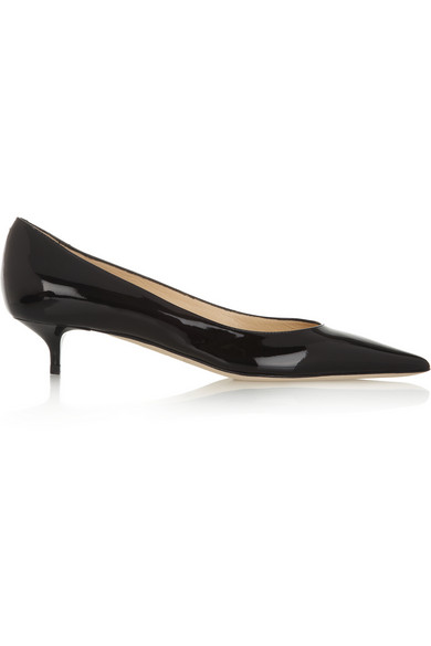a958a2064a Jimmy Choo Black Patent Leather Pointed Toe 'Aza' Kitten Pumps ...