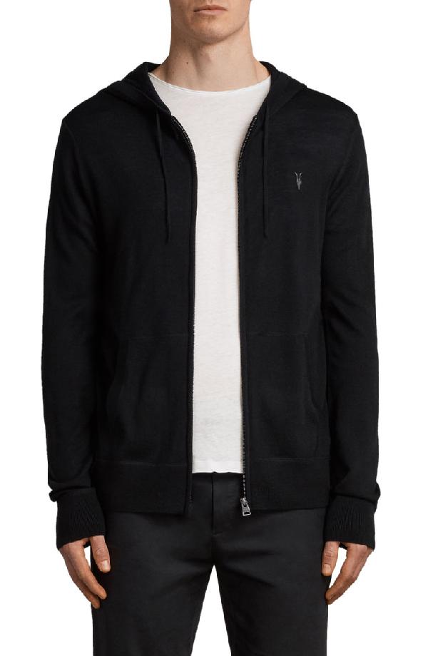 Allsaints Mode Merino Wool Open Cardigan Sweater In Black