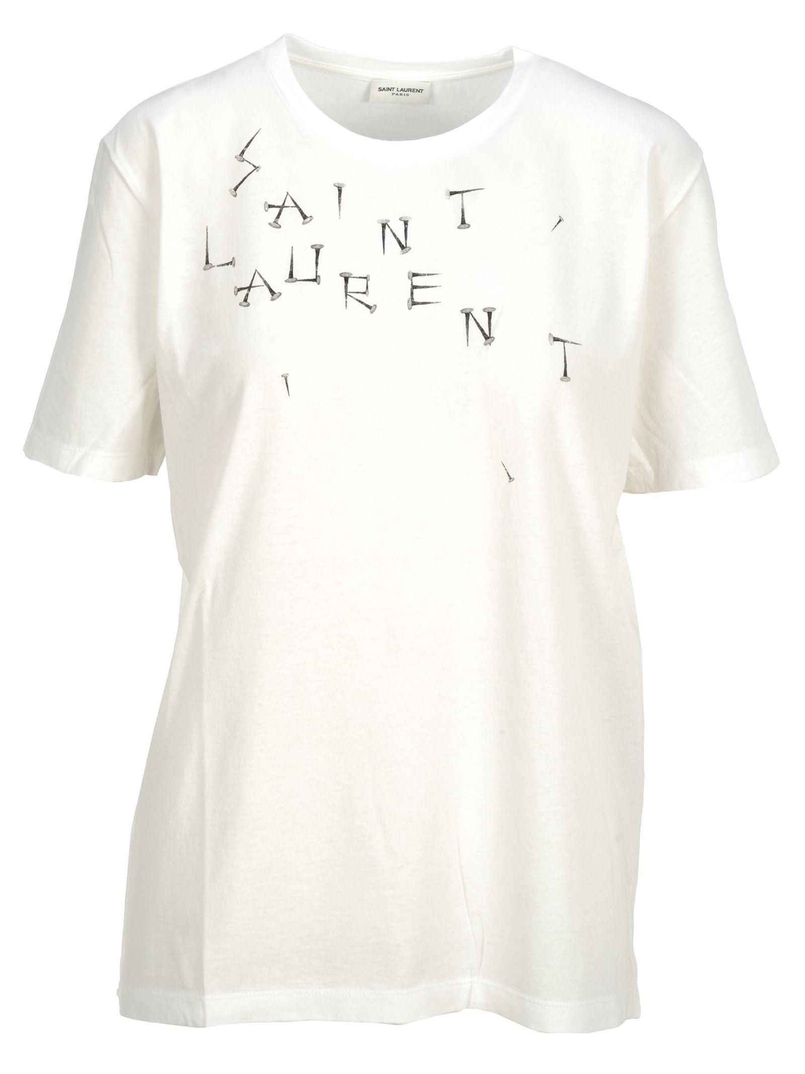 43d4ae22b Saint Laurent Tshirt Scritta In White   ModeSens