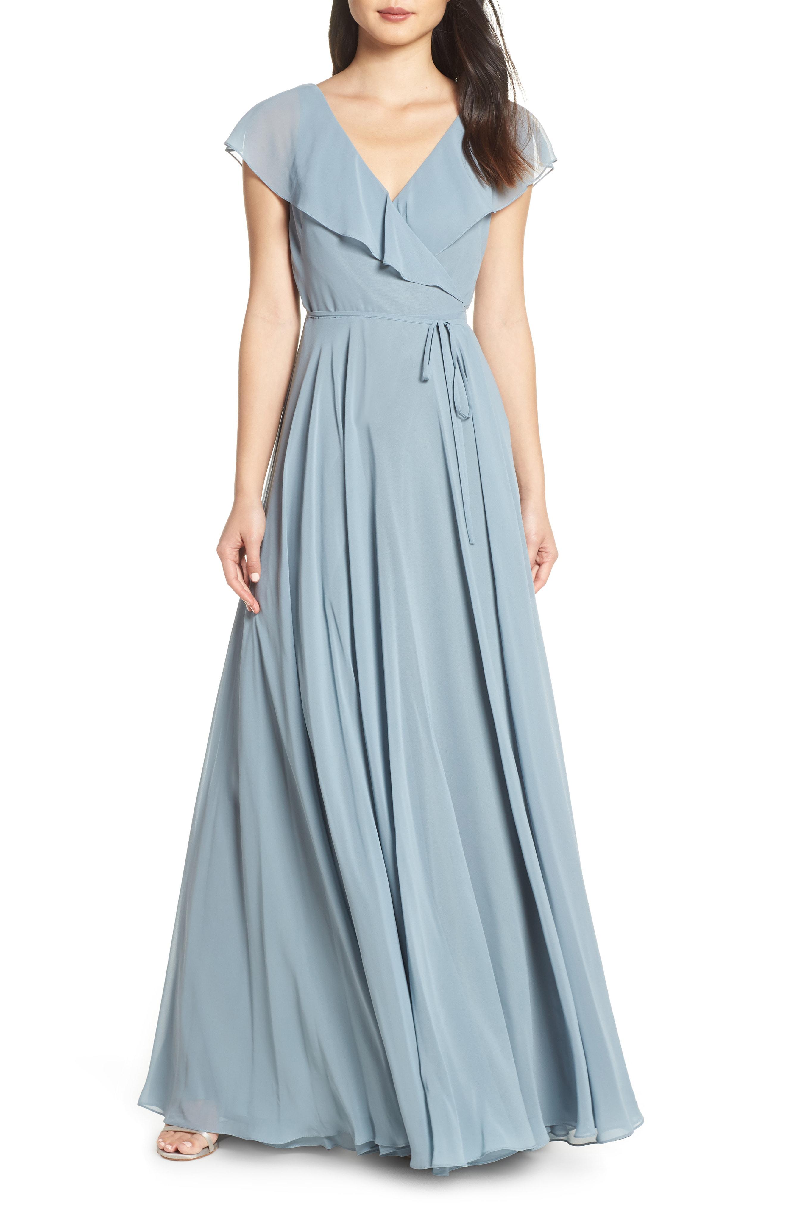 475ef84917d Jenny Yoo Faye Ruffle Wrap Chiffon Evening Dress In Mayan Blue ...