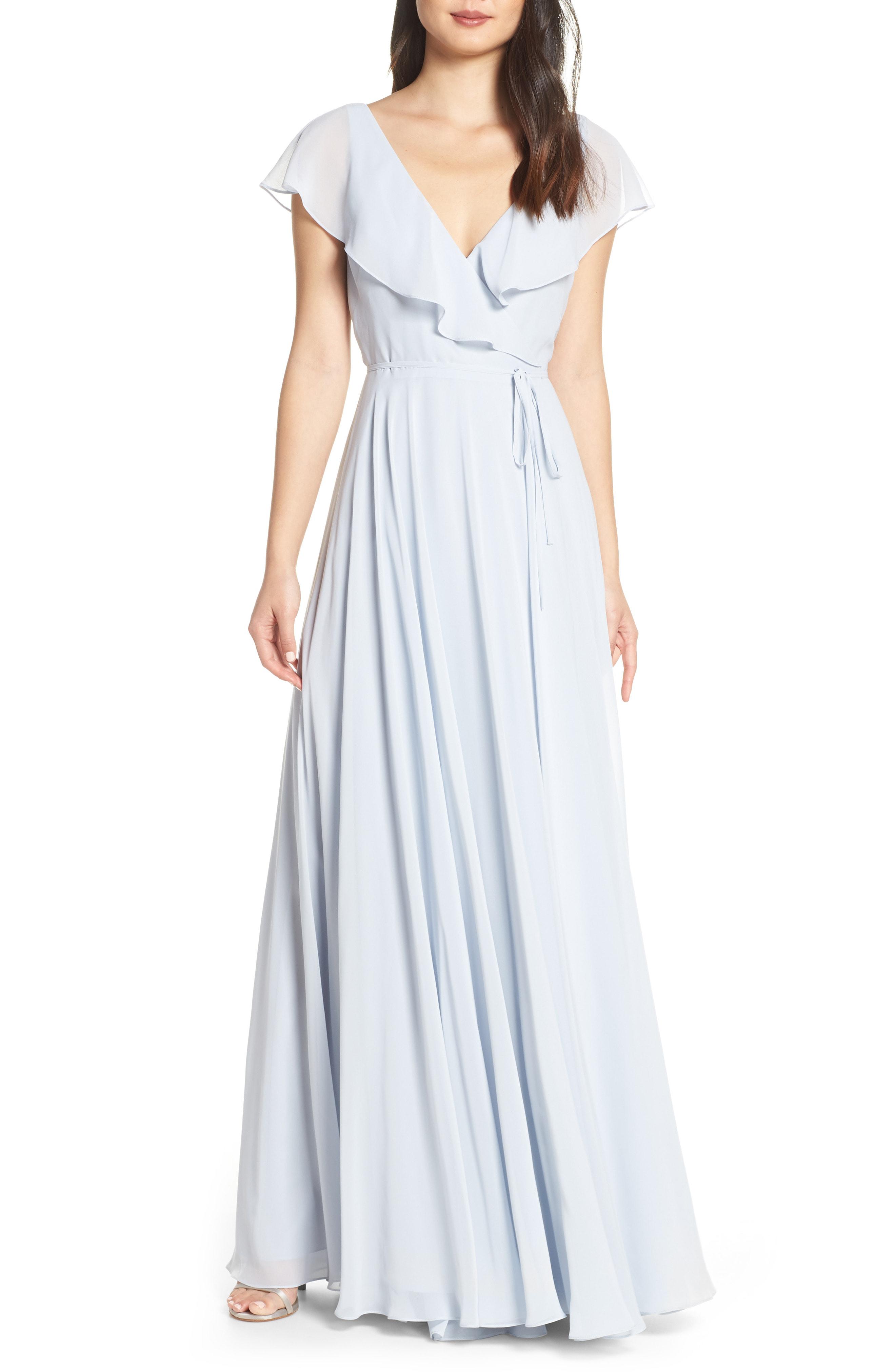 04db62e6310 Jenny Yoo Faye Ruffle Wrap Chiffon Evening Dress In Whisper Blue ...