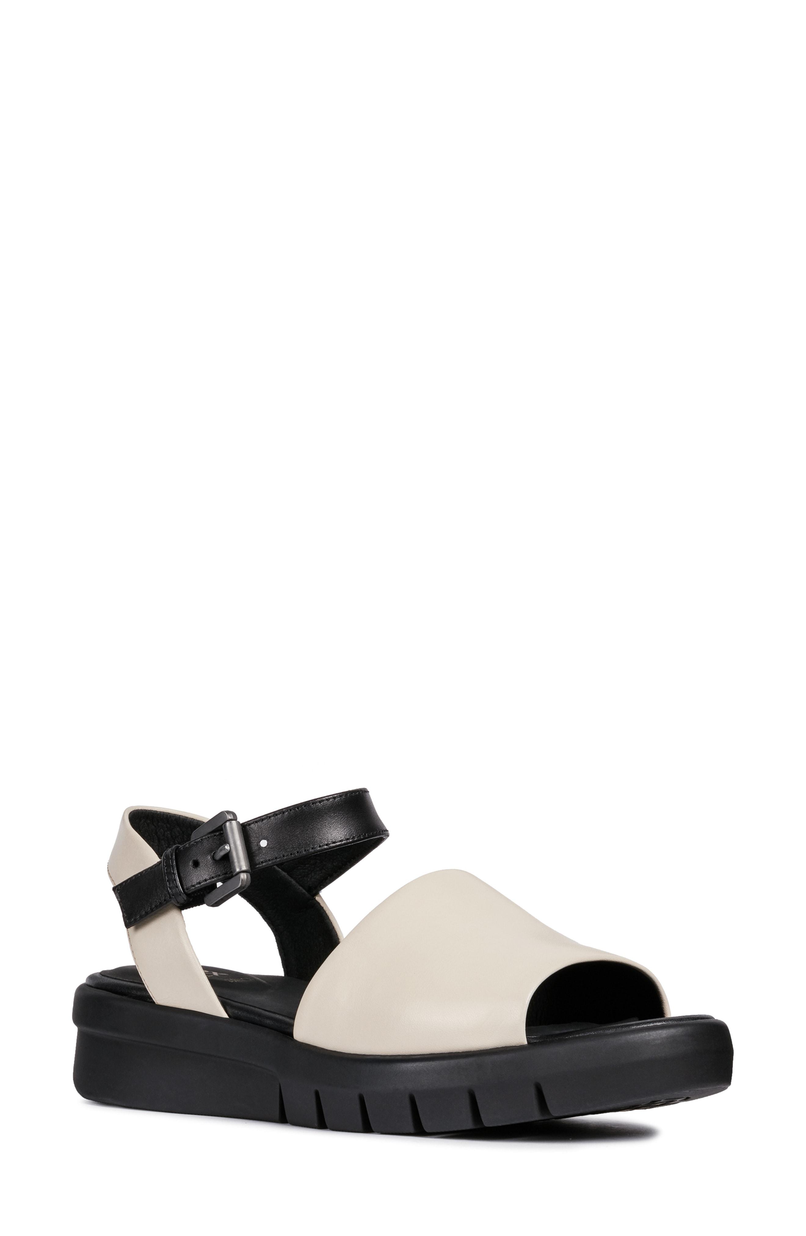 145d939b792 Geox Wimbley Platform Sandal In Black  Brown Faux Leather