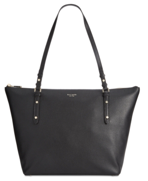 Kate Spade Large Polly Leather Tote In Black/Gold