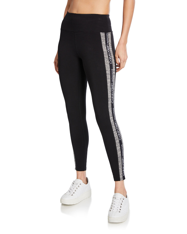 311e61993fffe6 Calvin Klein Performance High-Rise Varsity-Stripe Leggings In Creek ...