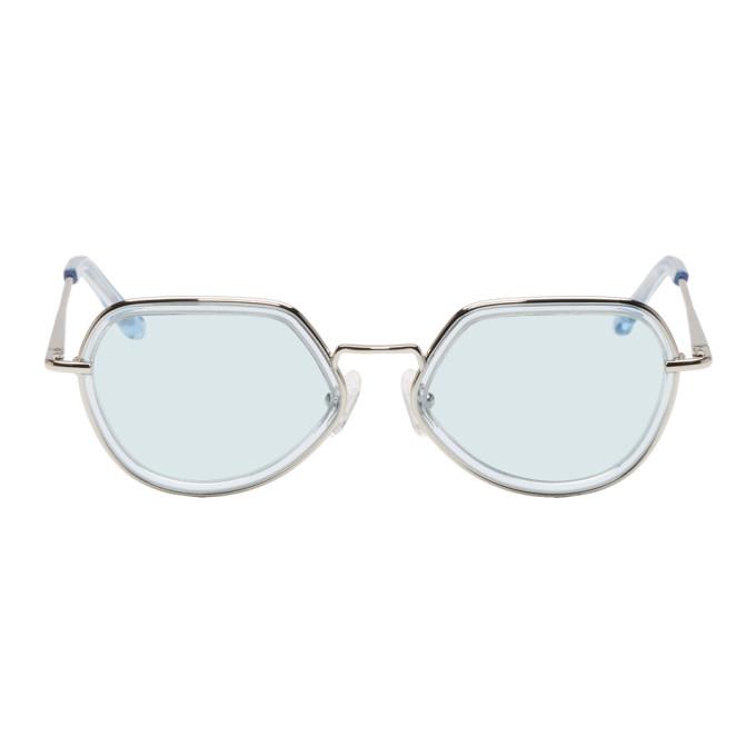 634fad2bd28 Dries Van Noten Blue And Silver Linda Farrow Edition 186 C2 Sunglasses In  Blu Silv